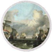 The Dutch Fleet Of The India Company Round Beach Towel
