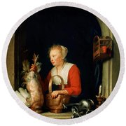 The Dutch Housewife Or The Woman Hanging A Cockerel In The Window 1650 Round Beach Towel