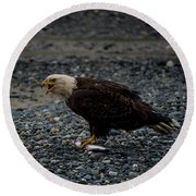 The Eagle And Its Prey Round Beach Towel