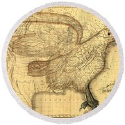 The Eagle Map Of The United States  Round Beach Towel