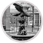 The Eagle - Widener University In Black And White Round Beach Towel