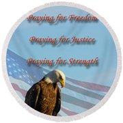 The Eagles Prayer Round Beach Towel