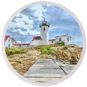 The Eastern Point Lighthouse In Gloucester Round Beach Towel