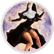 The Ecstasy Of Mother Liberation  Round Beach Towel