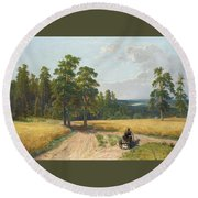The Edge Of The Pine Forest Round Beach Towel