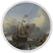 The Eendracht And A Fleet Of Dutch Men Of War Round Beach Towel