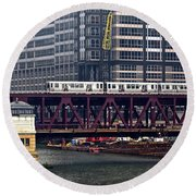 The El In Chicago Round Beach Towel