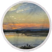 The Elbe In Evening Light Round Beach Towel