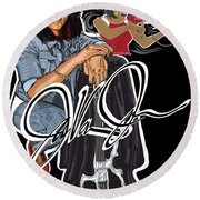 The Electric Violinist Round Beach Towel