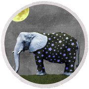 The Elephant And The Moon Round Beach Towel