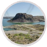 The Elephant At Elephant Butte Lake  Round Beach Towel by Allen Sheffield