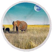 The Elephant Herd Round Beach Towel