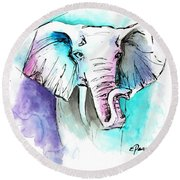 The Elephant King Round Beach Towel
