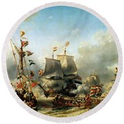 The Embarkation Of Ruyter And William De Witt In 1667 Round Beach Towel
