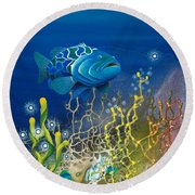 The Emerald Grouper Round Beach Towel