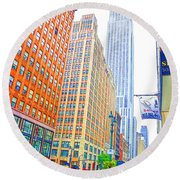 The Empire State Building 3 Round Beach Towel