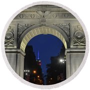 The Empire State Building Through The Washington Square Arch Round Beach Towel