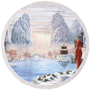 The Empress And The Unicorn Round Beach Towel