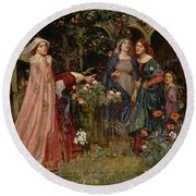 The Enchanted Garden Round Beach Towel by John William Waterhouse