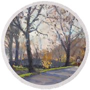 The End Of Fall At Three Sisters Islands Round Beach Towel