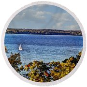 The End Of Summer Round Beach Towel
