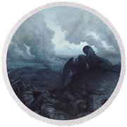 The Enigma Round Beach Towel by Gustave Dore