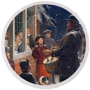 The Entertainer  Round Beach Towel by Percy Tarrant