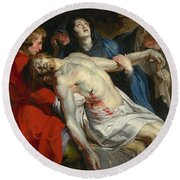 The Entombment Round Beach Towel