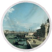 The Entrance To The Grand Canal And The Church Of Santa Maria Della Salute Round Beach Towel by Canaletto