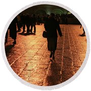 The Entrance To The Western Wall At Night Round Beach Towel