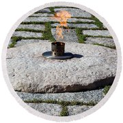 The Eternal Flame At President John F. Kennedy's Grave Round Beach Towel
