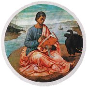 The Evangelist John At Patmos Round Beach Towel