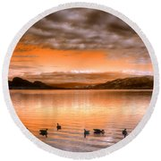 The Evening Geese Round Beach Towel
