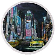 The Evening Of Time Square Round Beach Towel