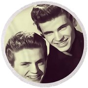 The Everly Brothers Round Beach Towel