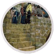 The Evil Counsel Of Caiaphas Round Beach Towel by Tissot