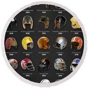 The Evolution Of The Nfl Helmet Round Beach Towel