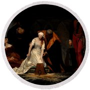 The Execution Of Lady Jane Grey In The Tower Of London In The Year 1554 Round Beach Towel