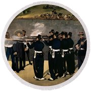 The Execution Of The Emperor Maximilian Round Beach Towel