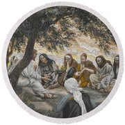 The Exhortation To The Apostles Round Beach Towel