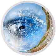 The Eye Of Nature 3 Round Beach Towel