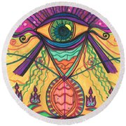 The Eye Opens... To A New Day Round Beach Towel by Daina White