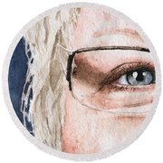 The Eyes Have It - Vickie Round Beach Towel