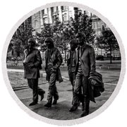 The Fab Four In Black And White Round Beach Towel