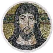 The Face Of Christ Round Beach Towel by Byzantine School