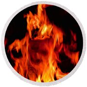 The Face Of Fire Round Beach Towel