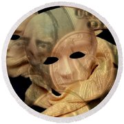The Face Of Greed Round Beach Towel