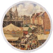 The Fair In Dieppe Round Beach Towel by Camille Pissarro