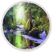 The Fairy Glen Gorge River Conwy Round Beach Towel