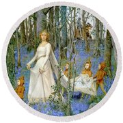 The Fairy Wood Round Beach Towel by Henry Meynell Rheam